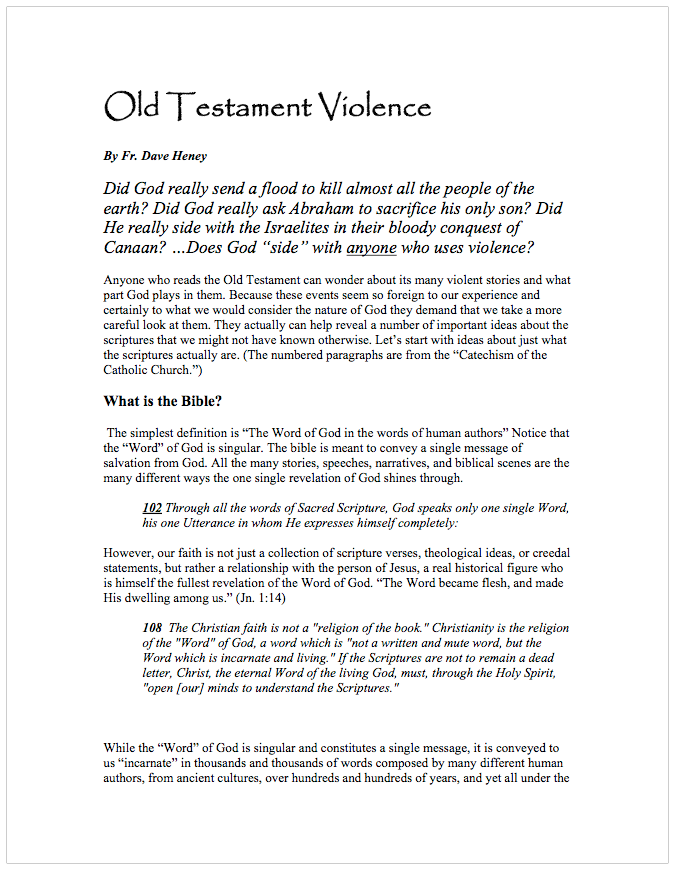 Old Testament Violence | Dave Heney